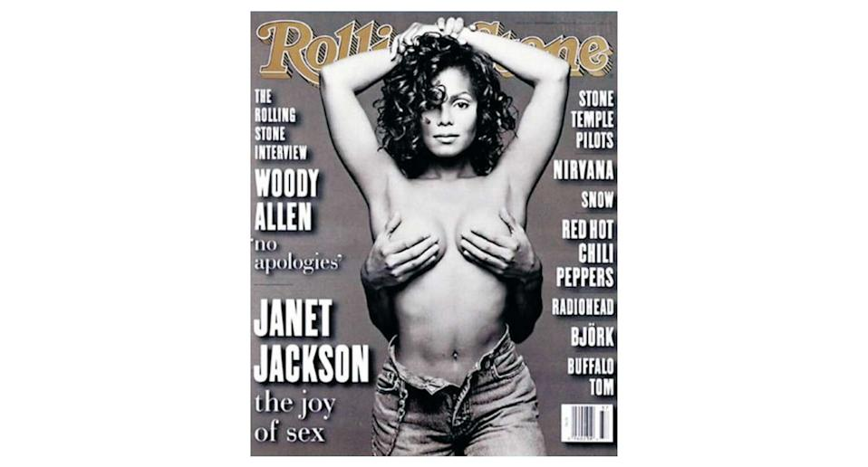 The now-famous magazine cover of Janet Jackson was featured on her 'Janet' album cover but when the publication was released, the full nude photograph drew controversy. The hands conveniently shielding her modesty belonged o her then-husband, dancer René Elizondo, Jr. <em>[Photo: Rolling Stone]</em>