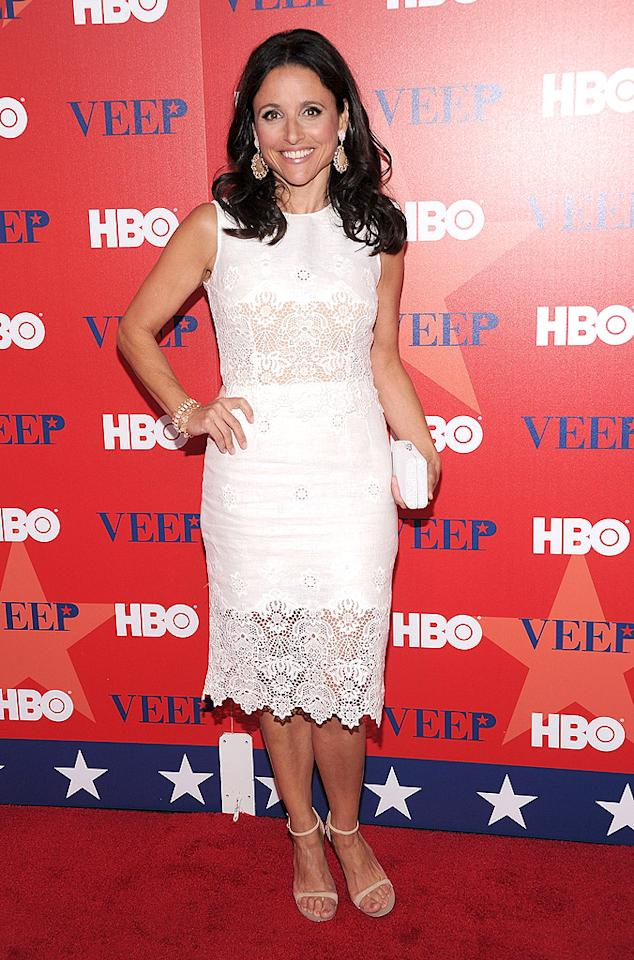 "NEW YORK, NY - APRIL 10:  Julia Louis-Dreyfus attends the ""Veep"" screening at the Time Warner Screening Room on April 10, 2012 in New York City.  (Photo by Jamie McCarthy/WireImage)"
