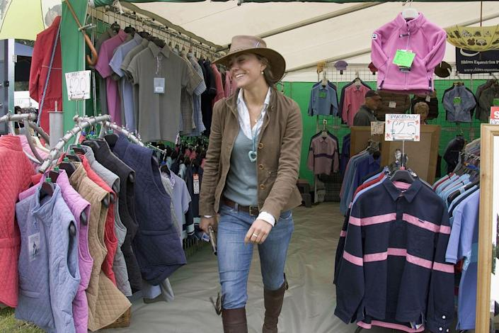 <p>Shopping at the Gatcombe Park Festival of British Eventing in 2005. </p>
