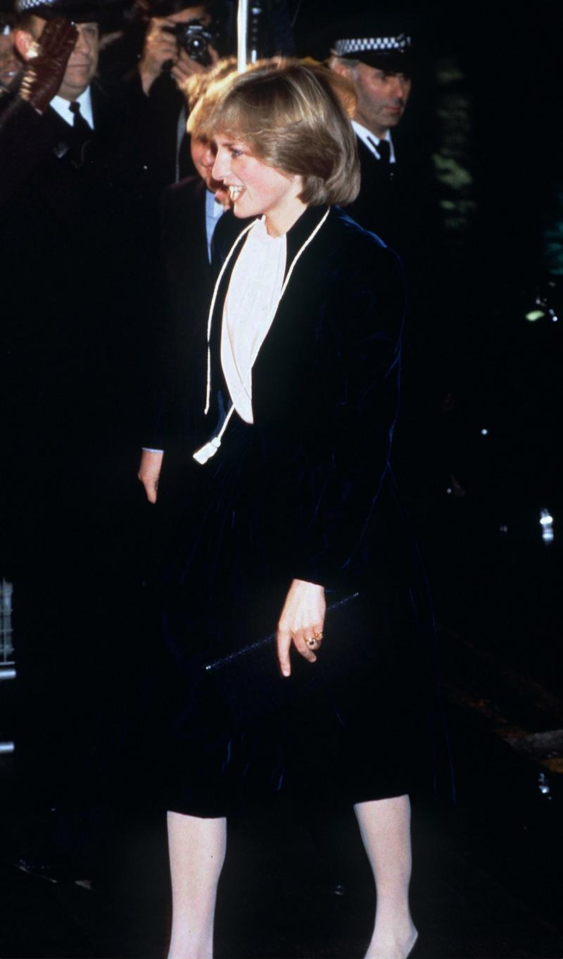 Princess Diana wearing a culotte suit by Bruce Oldfield to switch on the Regent Street Christmas lights, 1981.