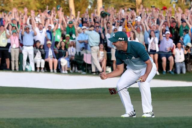 Sergio Garcia of Spain celebrates after defeating Justin Rose of England on the first playoff hole during the final round of the 2017 Masters Tournament, at Augusta National Golf Club in Georgia, on April 9 (AFP Photo/Rob Carr)