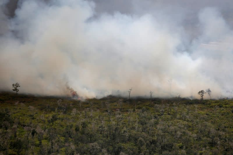 FILE PHOTO: Smoke covers a forest during fires near Banjarmasin in South Kalimantan province
