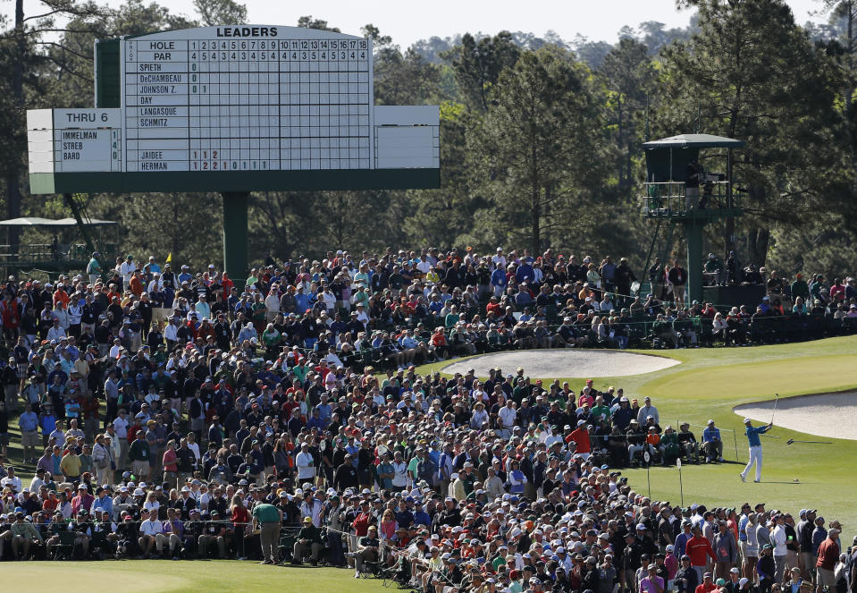 Zach Johnson tees off on the third hole during the first round of the Masters golf tournament Thursday, April 7, 2016, in Augusta, Ga. (AP Photo/David J. Phillip)