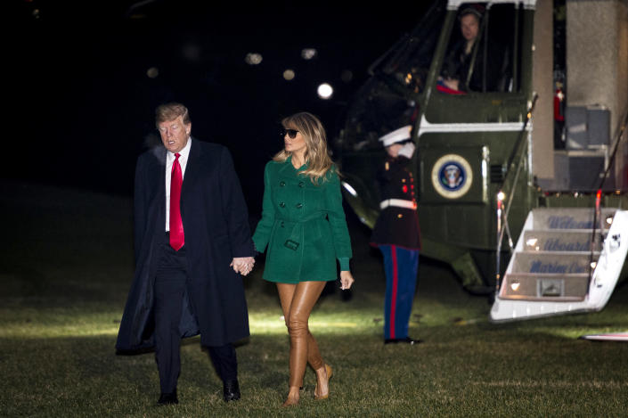People are calling Melania Trump out for wearing sunglasses at night, and seemingly no pants. (Photo: Getty Images)