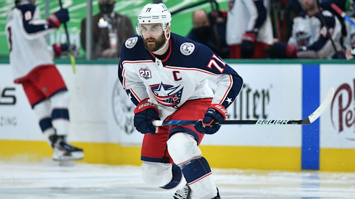 DALLAS, TX - MARCH 6: Nick Foligno #71 of the Columbus Blue Jackets skates against the Dallas Stars at the American Airlines Center on March 6, 2021 in Dallas, Texas. (Photo by Glenn James/NHLI via Getty Images)