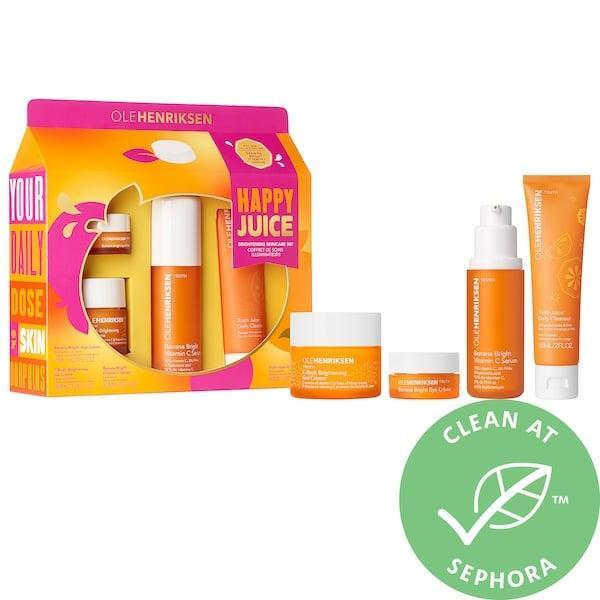 <p>The <span>Olehenriksen Happy Juice Set</span> ($69) packs four brightening skin-care treats with doses of vitamin C, orange fruit water, and banana powder, too.</p>