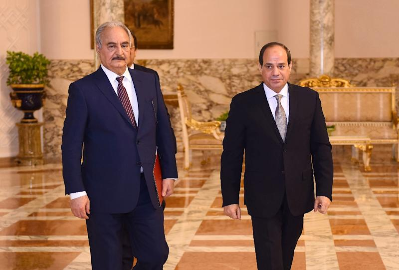 Libyan strongman Khalifa Haftar is backed by Egypt's President Abdel Fattah al-Sisi (AFP Photo/-)