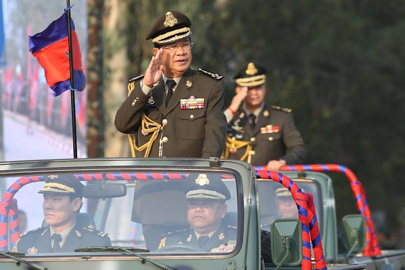 File photo showing Cambodian Prime Minister Hun Sen. The Hun Sen administration in the lead-up to November 9 had reportedly arrested and charged CNRP members for allegedly plotting to overturn the government. — AFP handout pic