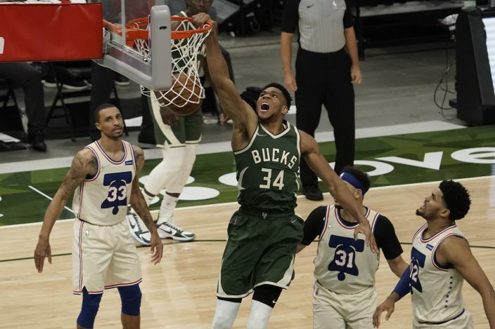 Milwaukee Bucks' Giannis Antetokounmpo dunks during the second half of an NBA basketball game against the Philadelphia 76ers Saturday, April 24, 2021, in Milwaukee. The basket was his 12,012 point as a Milwaukee Bucks player, leaving him second on the team's all-time scorers. (AP Photo/Morry Gash)