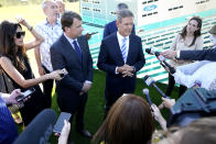 Tennessee Gov. Bill Lee, center right, answers questions along with Jim Farley, Ford president and CEO, center left, after a presentation on the planned factory to build electric F-Series trucks and the batteries to power future electric Ford and Lincoln vehicles Tuesday, Sept. 28, 2021, in Memphis, Tenn. The plant in Tennessee is to be built near Stanton, Tenn. (AP Photo/Mark Humphrey)