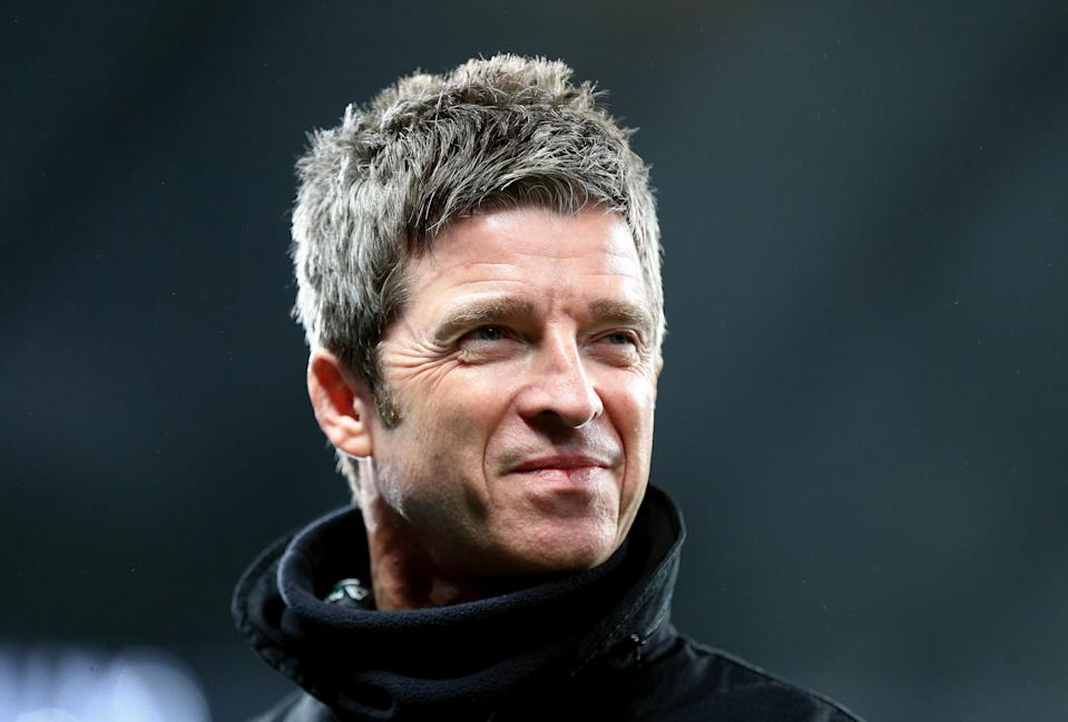 MANCHESTER, ENGLAND - DECEMBER 07: Noel Gallagher is interviewed before the match during the Premier League match between Manchester City and Manchester United at Etihad Stadium on December 07, 2019 in Manchester, United Kingdom. (Photo by Matt McNulty - Manchester City/Manchester City FC via Getty Images)
