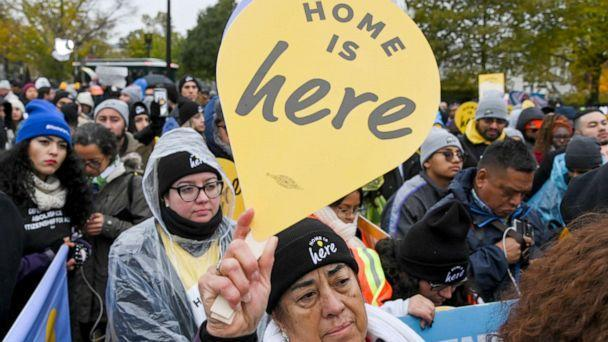 PHOTO: Demonstrators gather in front of the United States Supreme Court, where the Court is hearing arguments on Deferred Action for Childhood Arrivals, Washington, Nov. 12, 2019. (The Washington Post via Getty Images, FILE)