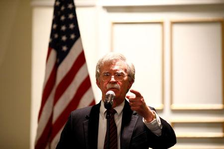 "National Security Adviser John Bolton discusses ""Protecting American Constitutionalism and Sovereignty from International Threats,"" at a forum hosted by the Federalist Society for Law and Public Policy Studies in Washington, U.S. September 10, 2018. REUTERS/Eric Thayer"