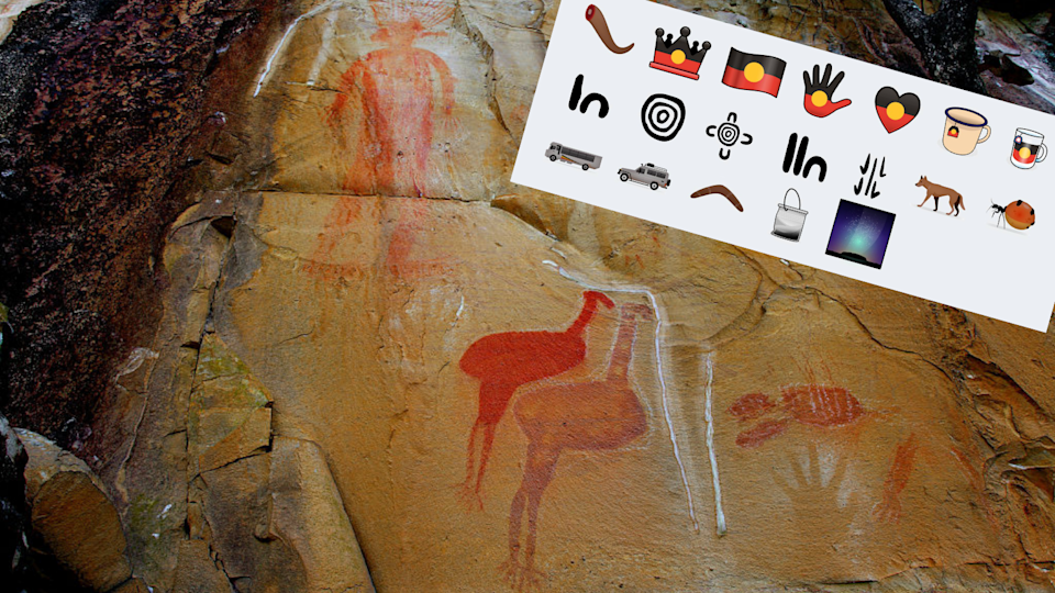 A photo of Jawoyn Aboriginal rock art in Nitmiluk National Park, NT, with a photo of the new 'Indigemojis'.