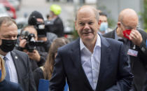 German Finance Minister and Social Democratic Party, SPD, candidate for chancellor Olaf Scholz arrives for an election campaign event named: 'Future talk with employees' in Wolfsburg, Germany, Tuesday, Sept. 21, 2021. (Julian Stratenschulte/dpa via AP)