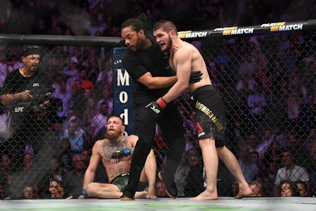 Khabib Nurmagomedov reacts after submitting Conor McGregor in their UFC lightweight championship bout during UFC 229 inside T-Mobile Arena on Oct. 6, 2018 in Las Vegas. (Getty Images)