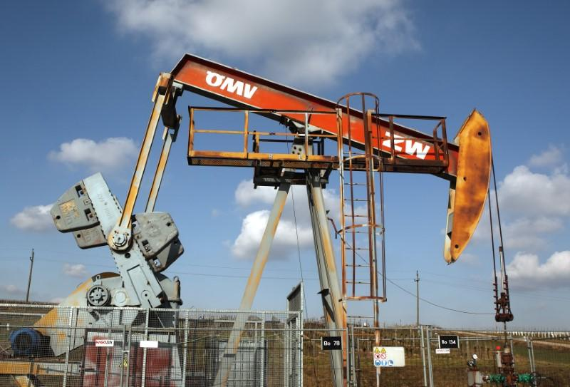 A pumpjack of Austrian oil and gas group OMV is pictured in Auersthal