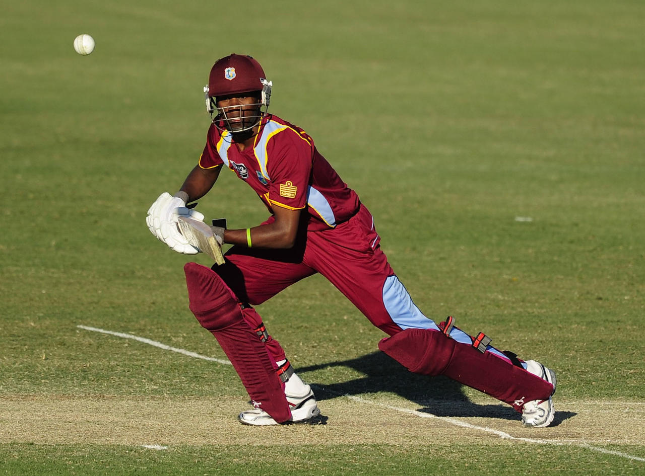 TOWNSVILLE, AUSTRALIA - AUGUST 12:  Akeal Hosein of the West Indies bats during the ICC U19 Cricket World Cup 2012 match between the West Indies and India at Tony Ireland Stadium on August 12, 2012 in Townsville, Australia.  (Photo by Ian Hitchcock-ICC/Getty Images)