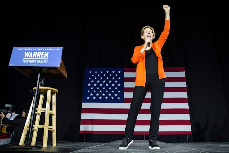 Democratic presidential candidate Sen. Elizabeth Warren (D-Mass.) speaks during a town hall event on October 18 in Norfolk, Virginia. (Photo by Zach Gibson/Getty Images) (Photo: Zach Gibson via Getty Images)