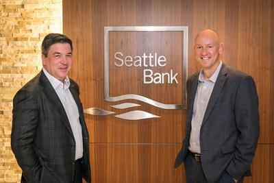 Simon Paris, CEO, Finastra (L) with John Blizzard, President and CEO, Seattle Bank (R)