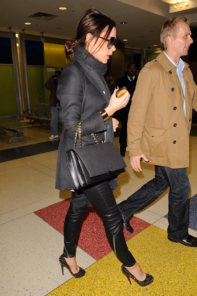 "<div class=""caption-credit""> Photo by: Getty Images</div><div class=""caption-title""></div>Victoria Beckham once tweeted that the airport is her runway. She embodied that sentiment in February 2011 when she left John F. Kennedy International Airport rocking tight leather pants and spiked heels. Work it, girl."