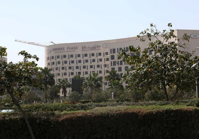 FILE PHOTO: Exterior view of the Crowne Plaza hotel, where two Italian cyclists participating in the UAE Tour tested positive for COVID-19 coronavirus, at Yas Island in Abu Dhabi