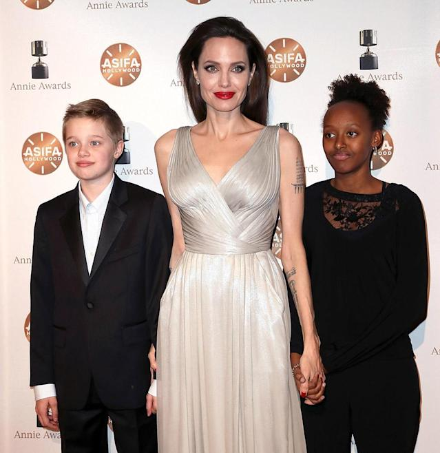 <p>It was a girls' day out for the actress and her daughters, as Shiloh and Zahara were by Jolie's side for the 45th annual Annie Awards in Los Angeles on Saturday. The Annie Awards celebrate the best in animated films, and the 42-year-old mom was nominated as a co-producer of <em>The Breadwinner</em>, which took home the award for best independent animated feature. (Photo: David Livingston/Getty Images) </p>