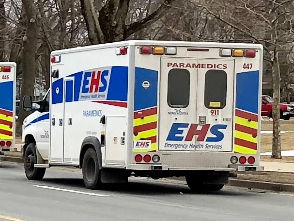Two ambulances line up in Halifax on March 13, 2018. The government has announced it will spend millions to buy new ambulances and patient transfer vehicles. Additional drivers will also be hired as part of the funding. (Craig Paisley/CBC - image credit)