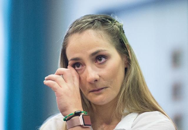 """I had to learn to let out the tears,"" Vogel said at her press conference (AFP Photo/Annegret Hilse)"