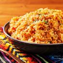 """<p>Tomato sauce, red pepper, and the perfect combo of spices elevate ordinary white rice to a restaurant-worthy side. (It pair perfectly with our <a href=""""https://www.delish.com/uk/cooking/recipes/a30146397/easy-chicken-fajitas-recipe/"""" rel=""""nofollow noopener"""" target=""""_blank"""" data-ylk=""""slk:chicken fajitas"""" class=""""link rapid-noclick-resp"""">chicken fajitas</a>!) Don't skip toasting the rice! It adds a ton of flavour. </p><p>Get the <a href=""""https://www.delish.com/uk/cooking/recipes/a30386415/spanish-rice-recipe/"""" rel=""""nofollow noopener"""" target=""""_blank"""" data-ylk=""""slk:Spanish Rice"""" class=""""link rapid-noclick-resp"""">Spanish Rice</a> recipe.</p>"""