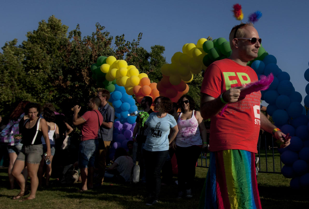 Members of Israel's gay community participate in a gay pride parade in Jerusalem, Thursday, Aug. 2, 2012. (AP Photo/Sebastian Scheiner)