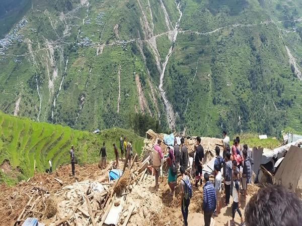People being rescued from the landslide in Sindhupalchok district in Nepal. Photo/ANI