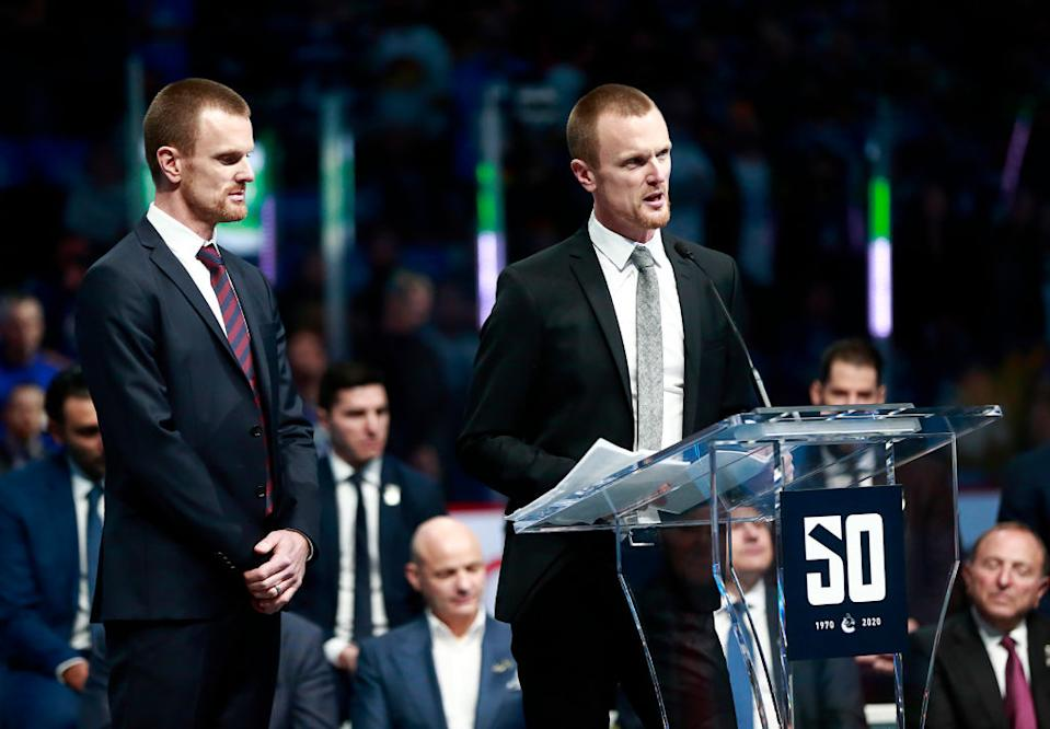 Daniel and Henrik Sedin are rumoured to be making their way back to the organization in front-office roles.  (Getty)