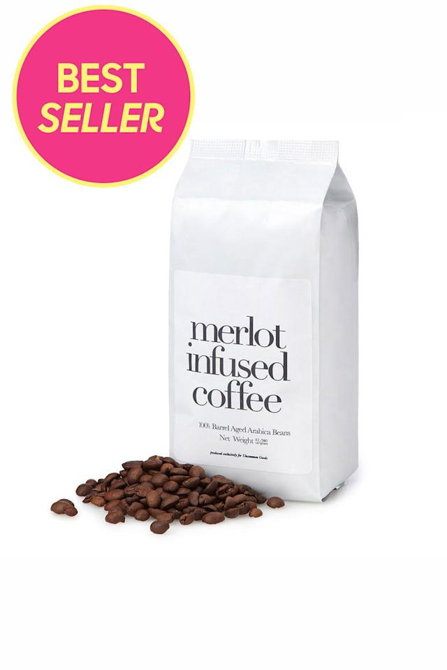 "<p>$20</p><p><a rel=""nofollow"" href=""https://www.uncommongoods.com/product/merlot-infused-coffee"">SHOP NOW</a></p><p>These Arabica beans are aged in oak barrels, leaving a bold brew with subtle hints of currants and blackberries. </p>"