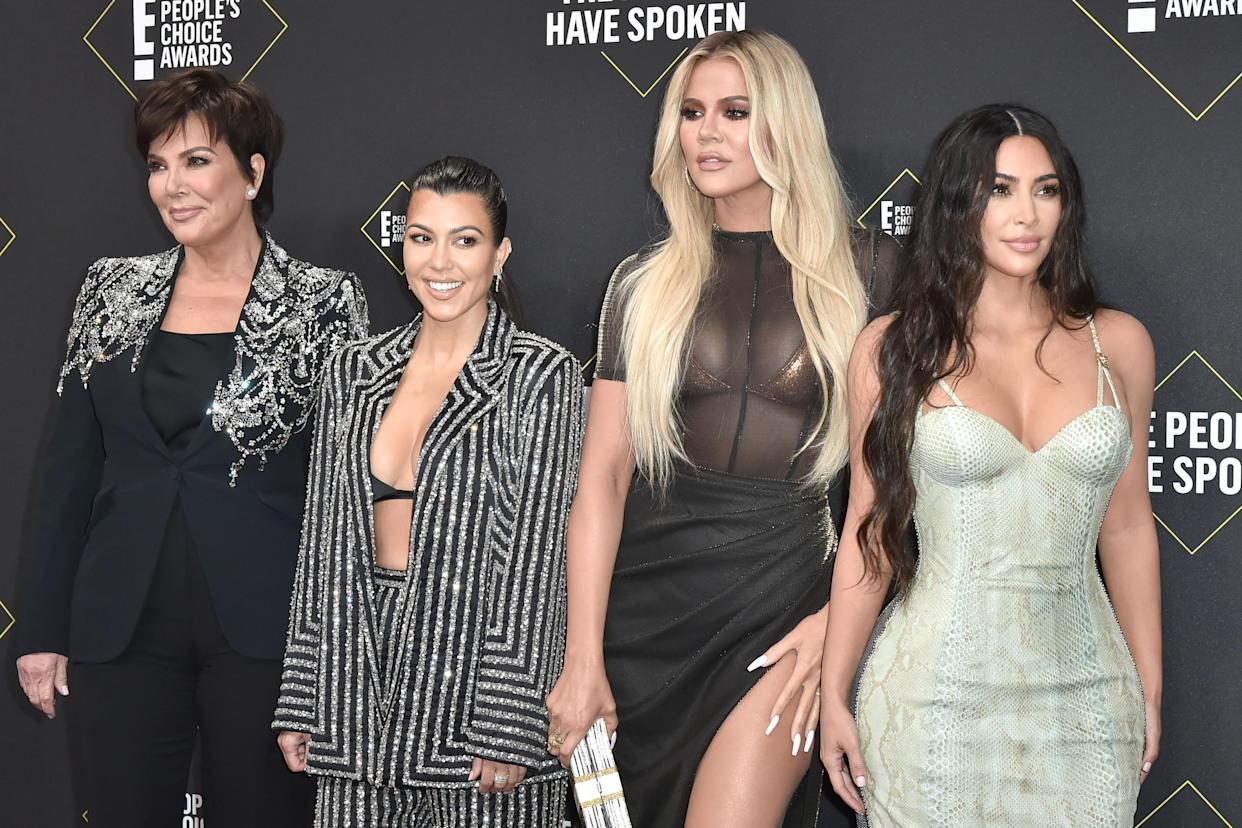 Kris Jenner, Kourtney Kardashian, Khloe Kardashian and Kim Kardashian, pictured here attending the 2019 E! People's Choice Awards, have been open about their diets and fitness routines. Experts call this problematic.