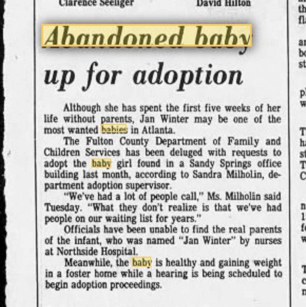 PHOTO: A 1983 news article shows more details about the first weeks of Amanda Jones' life. (Courtesy Amanda Jones)