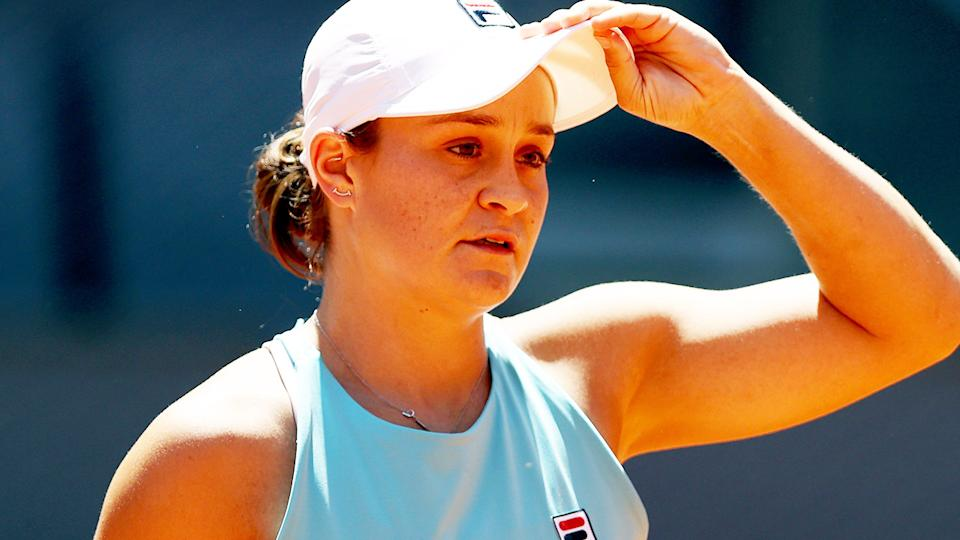 Ash Barty, pictured here in action at the Madrid Open.