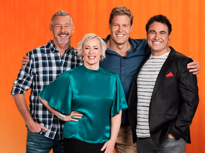 Amanda Keller, Barry Du Bois, Miguel Maestre and Dr Chris Brown pose for a promotional show for The Living Room