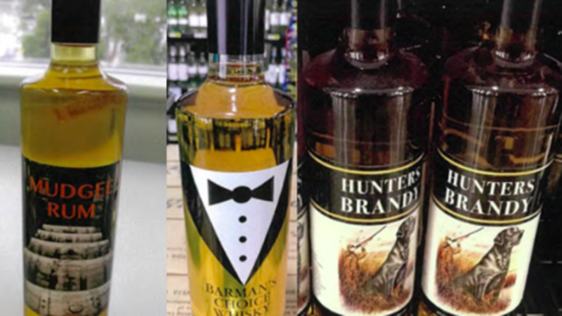 GJ Wholesale's Mudgee Rum, Barman's Choice Whiskey and Hunters Brandy have been recalled. Images for Yachtsman White Rum and Her Choice Gin not provided. Source: Food Standards Australia/NZ