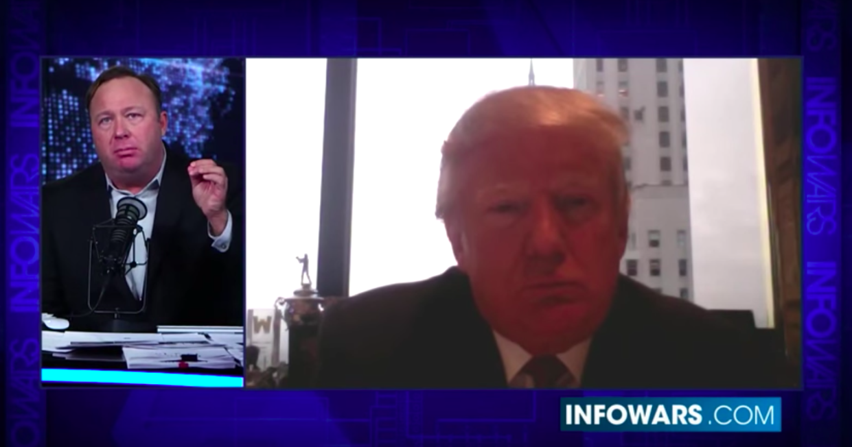 "Then-presidential candidate  Donald Trump is interviewed by ""Infowars"" host Alex Jones in December 2015."