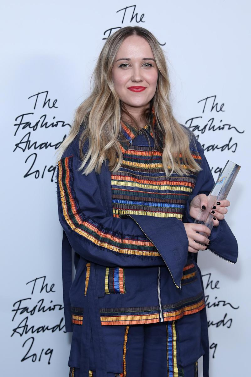 Williams with her award for British Emerging Talent Menswear at the Fashion Awards 2019 (Getty Images )