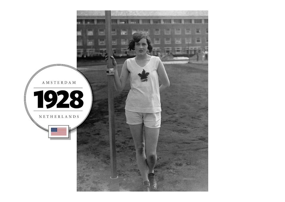 For the first time in 1928, the Summer Olympics in Amsterdam allowed female competitors like Ethel Catherwood, a Canadian high-jumper. Her uniform included a simple, cotton tank top and athletic shorts. (Getty Images)