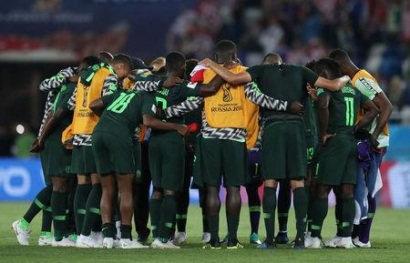 Soccer Football - World Cup - Group D - Croatia vs Nigeria - Kaliningrad Stadium, Kaliningrad, Russia - June 16, 2018 Nigeria players huddle after the match REUTERS/Ivan Alvarado