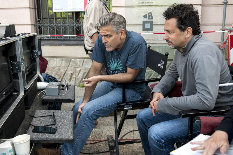 George Clooney and Grant Heslov on the Set of 'The Monuments Men'