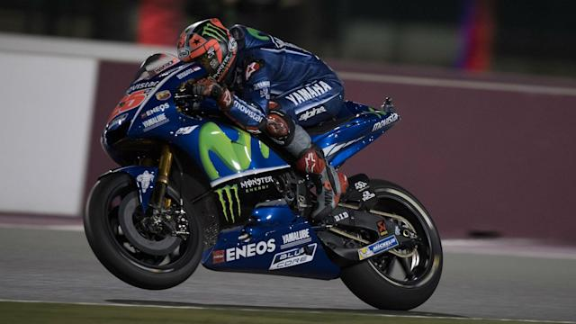 Johann Zarco looked set to mark his MotoGP debut with a sensational win but his crash allowed pole-sitter Maverick Vinales to claim victory.