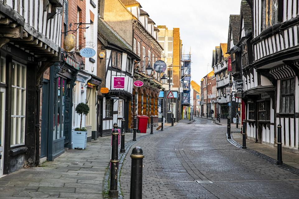 Empty streets in Worcester city centre, Worcestershire, on the first day of the third national lockdown in England, to reduce the spread of COVID-19. Prime Minister Boris Johnson announced further coronavirus restrictions during a televised address to the nation last night.