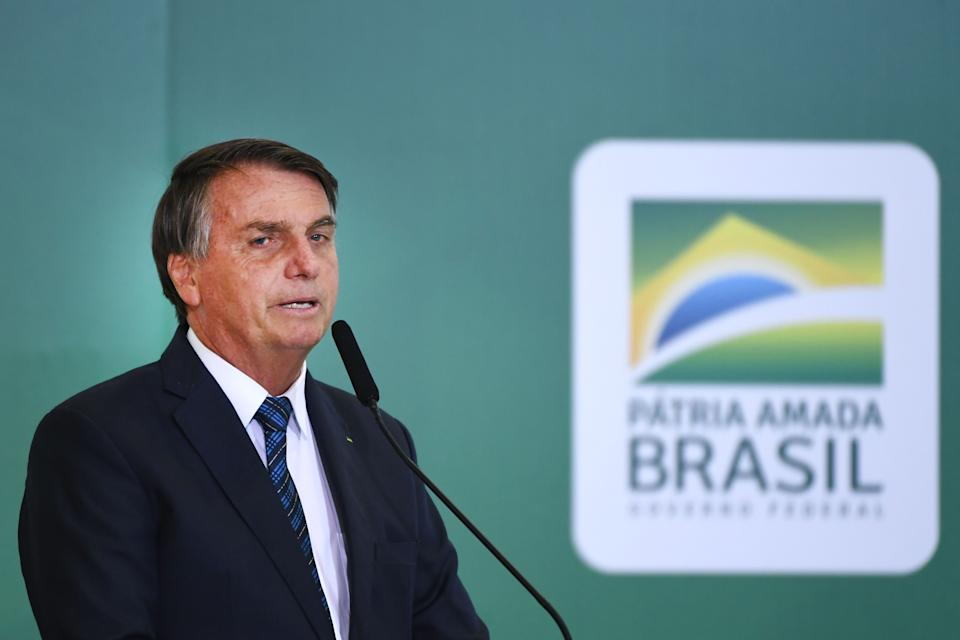 Brazilian President Jair Bolsonaro speaks during the launch of a program to help new mayors at Planalto Palace in Brasilia, on February 23, 2021. (Photo by EVARISTO SA / AFP) (Photo by EVARISTO SA/AFP via Getty Images)