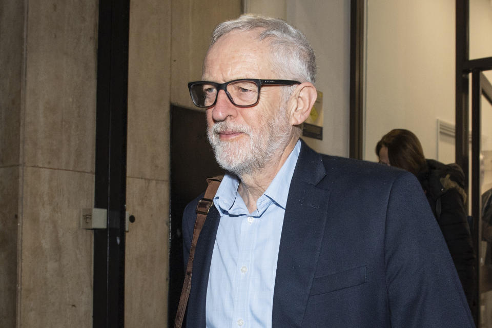 Britain's Labour Party leader Jeremy Corbyn leaves the Labour Party offices in London, Monday Jan. 6, 2020, after a meeting of the party's National Executive Committee. The opposition Labour Party will announce its new leader on April 4. (Dominic Lipinski/PA via AP)