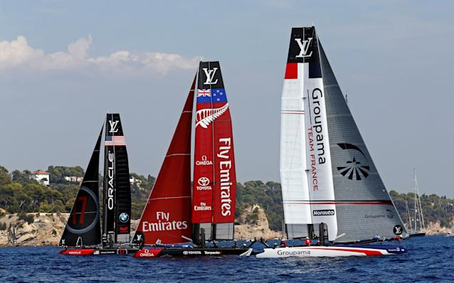 France Sailing - Louis Vuitton America's Cup World series - Toulon, France - 10/09/2016. Oracle Team USA, Emirates Team New Zealand, and Groupama Team France (L to R) in action during Day One. REUTERS/Jean-Paul Pelissier