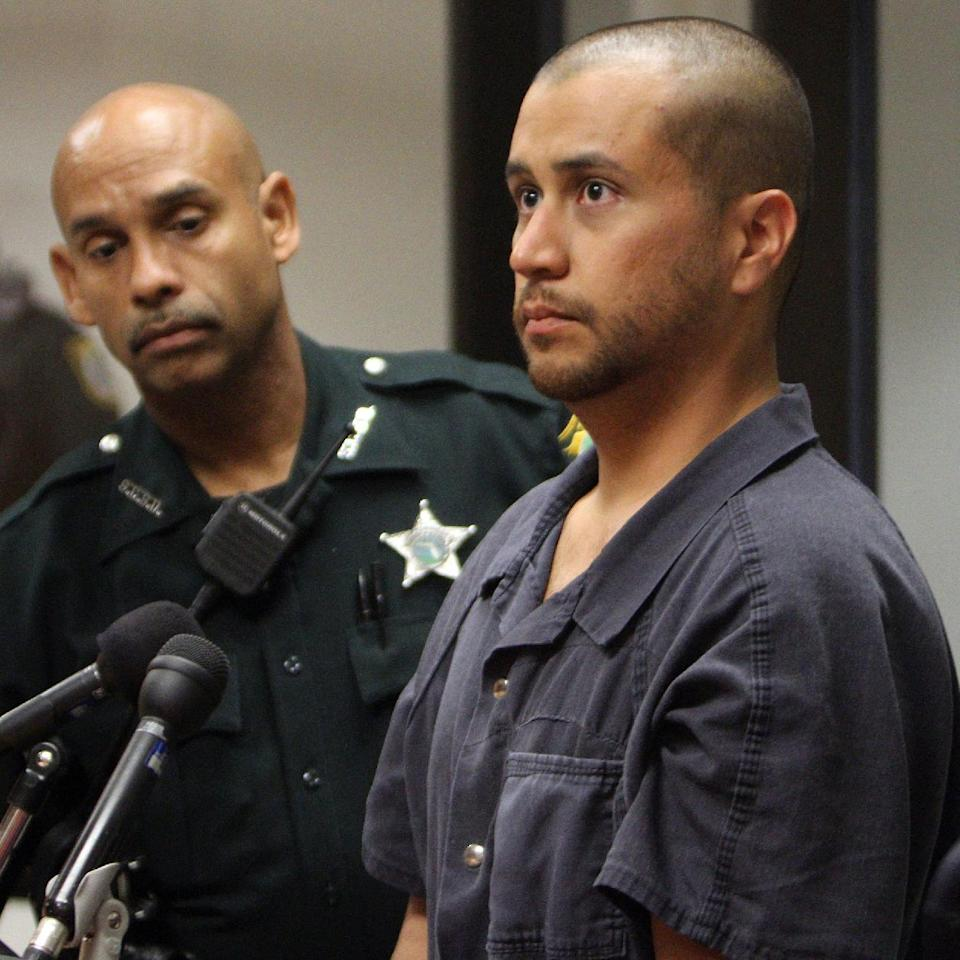 FILE - In this Thursday, April 12, 2012 file photo, George Zimmerman, right, stands next to a Seminole County Deputy during a court hearing in Sanford, Fla. Zimmerman, the neighborhood watch volunteer charged with murdering Trayvon Martin, has a bond hearing scheduled for Friday, April 20, 2012. Whether Zimmerman is allowed to leave Seminole County as he awaits trial, and how he will remain safe, are two questions that likely are going to be at the center of the hearing at the Seminole County Criminal Justice Center, legal experts say. (AP Photo/Orlando Sentinel, Pool, Gary W. Green, File)